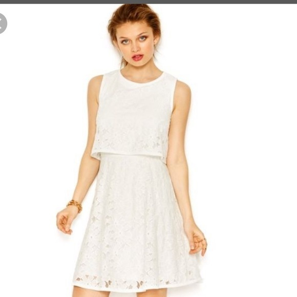 Betsey Johnson White Lace Popover Dress